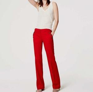 Loft Red Petite Sailor Pants, Size 0P